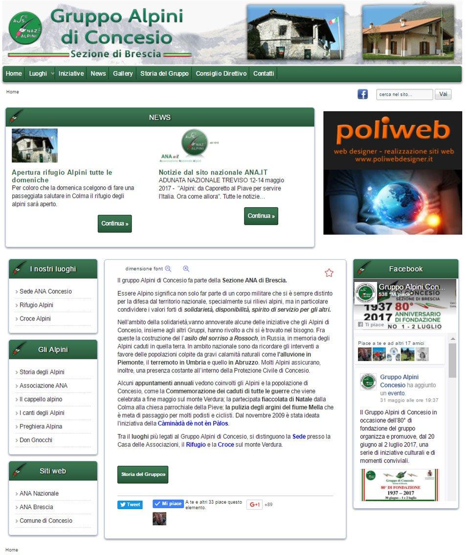Gruppo Alpini Concesio sito web by www.poliweb.it